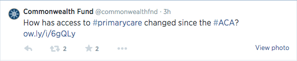 Commonwealth Fund tweet about the Affordable Care Act