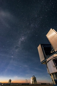 Starry sky with the European Southern Observatory's Very Large Telescope in the foreground