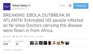 Ebola scare on Yahoo tweet